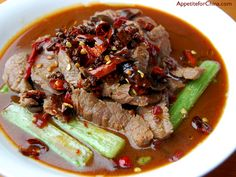 Spicy Boiled Beef Recipe I used this week.  I substituted the celery for cabbage and added Chinese 5 spice to it and omitted the chiles and peppercorns.  It was spicy enough!