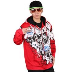 High-End Hip-Hop Dance Streetwear Zipper Close Hoodies Winter Sweatshirts Pattern Printed Slim Waist 3 Colors Men Thick Clothing Cheap Coats, Types Of Coats, Hooded Sweatshirts, Men's Hoodies, Winter Hoodies, Hip Hop Fashion, Sportswear, Street Wear, Street Graffiti