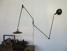 details about french industrial modernist jean prouve jib swing wall light red frenchs reducbrue and industrial