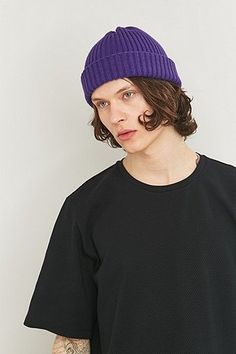 Urban Outfitters Purple Ribbed Beanie