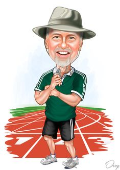 This is our high school Girl's Track Coach. He is very tall and always wears one of those fishing hats to our outdoor track meets. We'd like to see him standing on a track.
