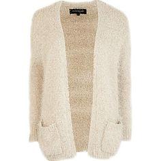 Cream fluffy cardigan - cardigans - knitwear - women #riverisland