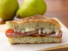 Hearty Ham and Pear Panini. A delicious twist on the traditional ham and cheese sandwich.