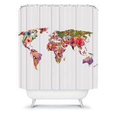 DENY Designs Bianca Green World Shower Curtain - 12619-SHOCUR