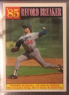 1986 Topps Record Breaker Fernando Valenzuela Dodgers Near Mint Combined s H | eBay