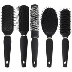 Black Hair Brush Set 5 Brushes Salon Styler Professional Styling Blow... ($29) ❤ liked on Polyvore featuring beauty products, haircare, hair styling tools, fillers, hair, accessories, beauty, styling iron, straight iron and flat iron