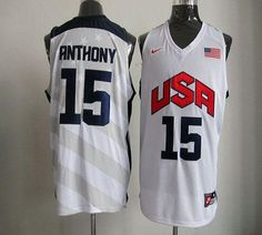 a08f5ef79d99f Nike 2012 Olympics Team USA  15 Carmelo Anthony White Stitched NBA Jersey  Dream Team Basketball