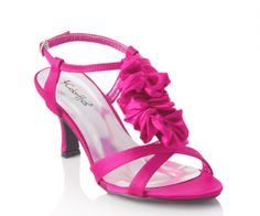 """Pink Coloriffics Giselle Bridal Shoes """"Soft ruffle t-strap with strappy sandal front. The sweet design of these adorable sandals make them perfect for any event. The 2 3/4"""""""" heel is great for almost everyone and the fun colors update any look. Available in nude, fuchsia,royal blue and black.""""  http://www.bellissimabridalshoes.com/Pink-Coloriffics-Giselle-Bridal-Shoes-Prodview.html"""