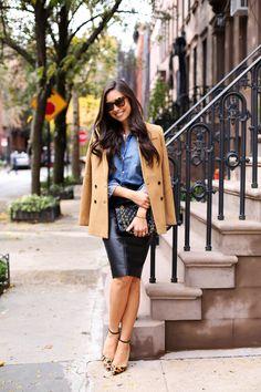 Autumn Staples - Banana Republic blazer c/o // Frank & Eileen shirt c/o Bailey 44 skirt // Schutz heels Elizabeth & James ring // Chanel bag Thursday, November 5, 2015