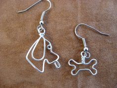 DOGGY and his BONE EARRINGS wirewrapped. $14.00, via Etsy.