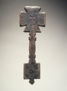 Africa |  Hand Cross.  Culture: Amhara.  Medium: Wood. Place Made: Amhara Region, Ethiopia. Dates: 17th or 18th century