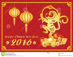 Happy Chinese New Year 2016 Card Is  Lanterns ,Gold Monkey Holding Peach And Money And Chinese Word Mean Happiness - Download From Over 39 Million High Quality Stock Photos, Images, Vectors. Sign up for FREE today. Image: 60711805