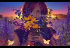 Sunset (Commission) by Nikulina-Helena on DeviantArt Digital Art Gallery, Portrait Art, Portraits, Photo Manipulation, Art Girl, Fantasy Art, Scenery, Illustration Art, Deviantart