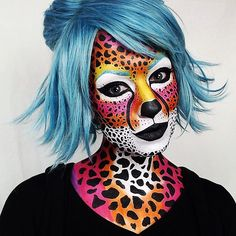 Lisa Frank cheetah makeup, cat Halloween colorful makeup costume ideas. IG: TheTrashMask