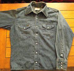 Vintage 1960s Denim Shirt Wrangler Mens Work Shirt by bycinbyhand, $60.00 #bycinbyhand #cinsfreshpicked #western #cowboy #vintagedenim #easyrider #hippie #nashville #workshirt #wrangler #tomboyshirt #rockabilly #vlv