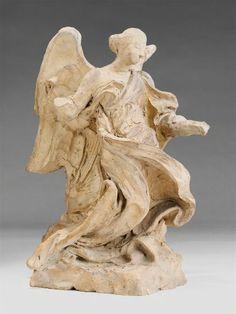 Gian Lorenzo Bernini, Half-Kneeling Angel , c. 1673. Terracotta.   Harvard Art Museums