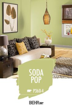 If you're looking to create a boho-chic style in your home, a vibrant green wall color is the perfect place to start. We're loving how BEHR® Paint in Soda Pop pairs with the warm brown and yellow tones in this living room. Click below to learn more. Living Room Paint, Taupe Living Room, Living Room Warm, Living Room Colors, Taupe Walls, Paint Colors For Living Room, Taupe Paint Colors, Home Decor, Beige Living Rooms