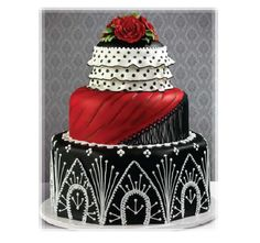 Black And Red Flamenco Themed Wedding Cake