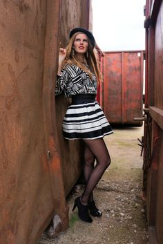 Eatfashioneveryday.com, Mixed print, black and white, hat, outfit