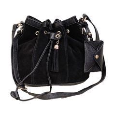Abody New Fashion Women Girl Bucket Bag Tassel Drawstring Crossbody Messenger Shoulder Bag Black. Made from high quality PU leather and flock materials, soft and durable for daily use. Drawstring bucket-shaped shoulder bag, fashion and stylish. Drawstring closure to the interior. One zipper pocket and two patch pockets in the inner side. Adjustable shoulder strap and an outside pouch pocket. Sweet tassel hanging decoration. Spacious compartment, convenient to use in your daily life.