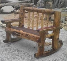The wood den can build you a custom bench from slabs and personalize it to your liking. Rustic Log Furniture, Twig Furniture, Rustic Bench, Cabin Furniture, Rustic Wood, Wood Benches, Small Wood Projects, Wood Art, Wood Crafts