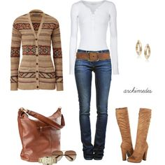 cute fall outfit, With some cowboy boots instead - I just need a great sweater!