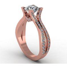 rosegold custom design diamond moissanite micro pave engagement ring,... ($1,750) ❤ liked on Polyvore featuring jewelry, rings, diamond bridal rings, diamond rings, rose gold engagement rings, pave ring and pave setting engagement ring
