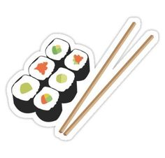 Sushi rolls with chopsticks Stickers