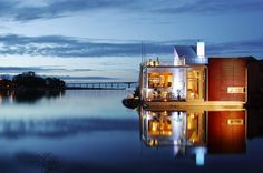 Villa Näckros in Kalmar, Sweden by Staffan Strindberg Beautiful Home Designs, Beautiful Homes, Beautiful Places, Amazing Architecture, Interior Architecture, Floating Architecture, Water House, Living Off The Land, Floating House