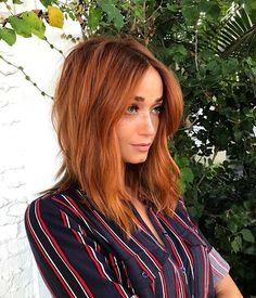 Copper Red Lob Haircut Idea for Fall