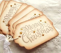 Merry Christmas Tags Gold Sparkle Stamped by SweetlyScrappedArt