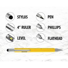 "Six tools packed into one!Six in one uses!  Functions as Touchscreen Stylus, Ballpoint Pen, 4"" Ruler, Level, Screwdriver, and Flathead. This stylus pen glides effortlessly on the screen (No more smudges) Ballpoint pen ink cartridge can be refilled easily (Black ink included) Constructed with heavy durable silicone touchscreen sensitive tip Can be used with any touchscreen device such as tablets, phones, or GPS. Functions as Touchscreen Stylus, Ballpoint Pen, 4"" Ruler, Level, Screwdriver…"