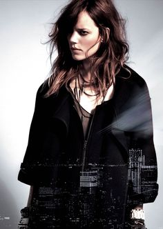 Danish model Freja Beha is posing for this korean brand called 96NY for their A/W 2013 campaign.  ''The label were inspired by a rock chick mood with a vintage vibe, piecing together a wardrobe of knitwear pieces, white shirts, leather trousers an array of accessories including a mixture of bracelets for the campaign.''