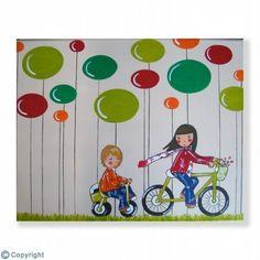 Cuadro infantil personalizado: Paseo en bicicleta (ref. 21005-01)