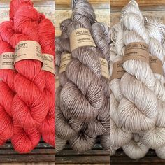 """Kettle Yarn Co. Islington DK yarn ...on Instagram: """"New tomato-red Macbeth red, café-au-lait Squirrelly and warm cream Light Squirrelly in thicker Islington DK, British SW Bluefaced Leicester…"""""""