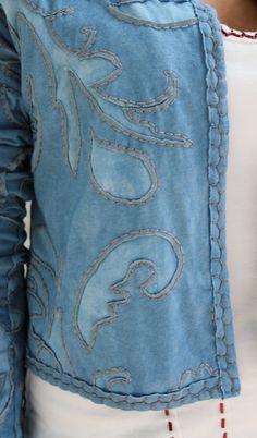 Alabama Chanin: bleach gel a pattern, then embroider around it?