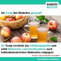 Apfelessig wirkt blutzuckersenkend, appetitzügelnd und pilzhemmend - Eigenschaften, die bei Diabetes oft wünschenswert sind! Diabetes Mellitus, Fruit, Vegetables, Food, Curb Appetite, Blood Sugar, Fungi, Meal, Health