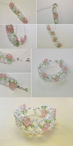 fresh beaded flower bracelet, best choice for summer, make one for yourself…