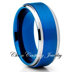 8mm Blue Brushed Tungsten Ring Beveled Edges Comfort Fit  #RePin by AT Social Media Marketing - Pinterest Marketing Specialists ATSocialMedia.co.uk