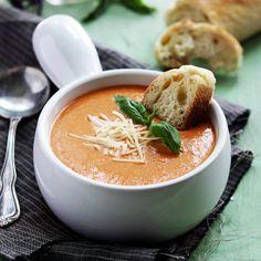 Creamy tomato basil and cheesy parmesan soup