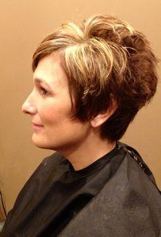 Short razor cut with blonde highlights