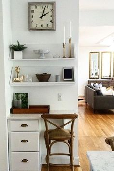 how to turn a nook into an office without even buying a desk - Small Kitchen Desk Ideas