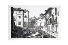Grabado de una de la calles más poéticas de Granada, la Carrera del Darro. Técnica de aguafuerte. Impreso en papel súper alfa, edición limitada. Medidas: Papel: 30cm x 40cm Plancha: 24cm x 15cm