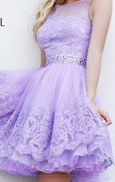 Princess Lilac Short Lace Homecoming Dresses Beaded Tulle Prom Sweet 16 Dress For Teens Juniors - Thumbnail 2