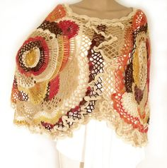 Crochet cape Freeform crochet Crochet poncho by allmadewithlove