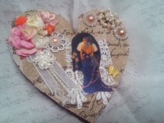 Home Decor Shabby Chic Heart Decorated by Ladydarinefinecrafts