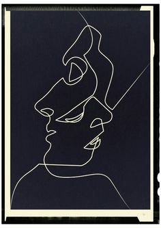 Close Noir Art Print by quibe Available for purchase Close Noir Black and White Minimalist Abstract Art Painting Face People Relationships Love Art Blanc, Oeuvre D'art, Art Drawings, Drawing Art, Contour Drawing, Abstract Drawings, Drawing Faces, Face Line Drawing, Picasso Drawing