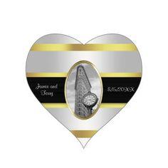 Flatiron Building  Wedding Stickers White Gold BW