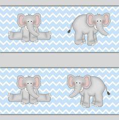 ELEPHANT WALLPAPER BORDER Decal Blue Chevron Grey Safari Animal Room Baby Boy Gray Jungle Nursery Children's Sticker Kids Wall Art Decor #decampstudios