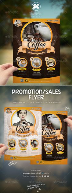 Flyer templates designed exclusively for cafe, restaurant, sales, promotion or any of use.Fully editable, image/logo can be quickly added or replaced in smart objects. Easy to edit just find and replace image in the smart object layer, then edit the text. if y